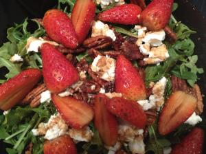 Strawberry Salad: Arugula, Candied Pecans, Goat Cheese, and Strawberries