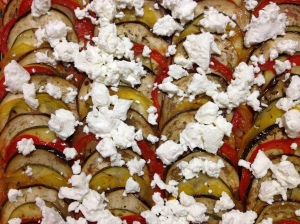 Ratatouille: Sliced Vegetables, Pureed Vegetables, Goat Cheese