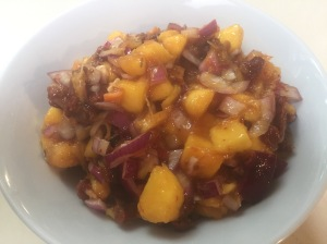 Mango Habanero Salsa: Mango, Habaneros, Red Onion, Sun Dried Tomatoes, Lime Juice, Orange Marmalade, Himalayan Sea Salt
