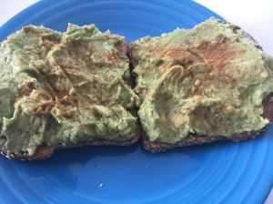 Avocado Toast: Bread, Avocado, Lime Juice, Himalayan Salt, Cayenne Pepper