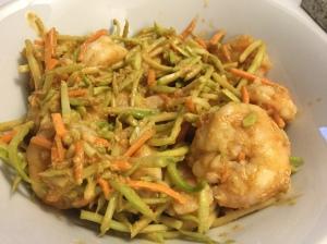 Thai Style Shrimp Salad with Peanut Dressing: Slaw, Shrimp, Soy Sauce, Peanut Powder, Cayenne powder, Ginger, Stevia, Sesame Oil, Water